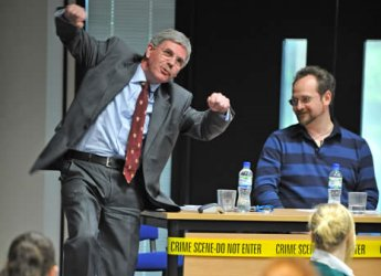 Photo of James Grieve and Stuart MacBride at a Murder, Mystery and Microscopes