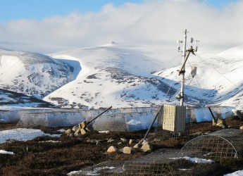 Photograph of Weather station and experimental plots at Cullardoch