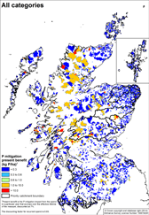 Map showing the distribution of the categories and their likley impact on water quality.