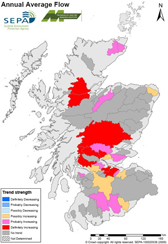 Map of Scotland showing average annual flow