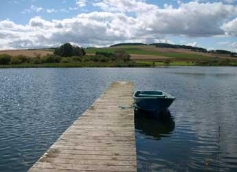 View of a row boat on a lake