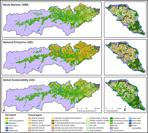 Figure 2: Spatial land use scenarios, River Dee, and Tarland sub-catchment