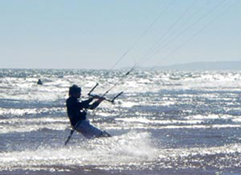 Photograph of a kite surfer enjoying the coastline