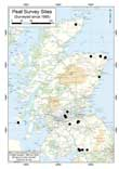 Sites of topographic surveys of peat deposits in Scotland