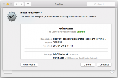 Install Eduroam on a Mac step one