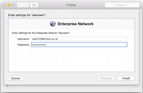 Install Eduroam on a Mac step two