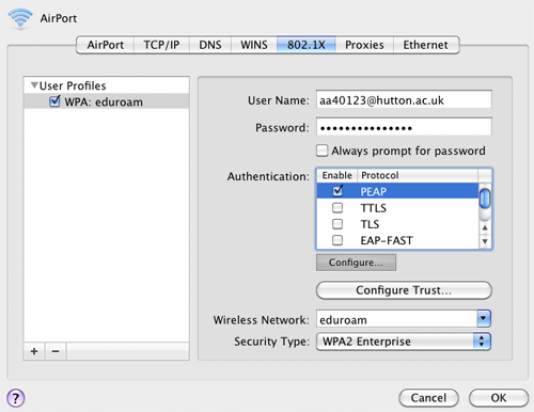 Install Eduroam on a Mac OS X step seven