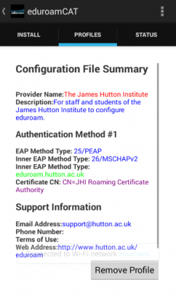 The PROFILES tab in eduroam CAT after install the Hutton profile