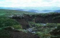 Eroded peat, with deep hagging, in the Monadhliath Mountains,Central Scotland