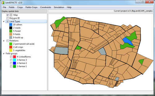 Screenshot of the main interface of the LandSFACTS software